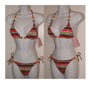 NWT Xoxo swimsuit set boho runs S colorful fun